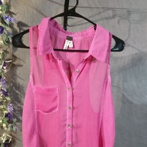 We the Free  sheer pink sleeveless  Button down